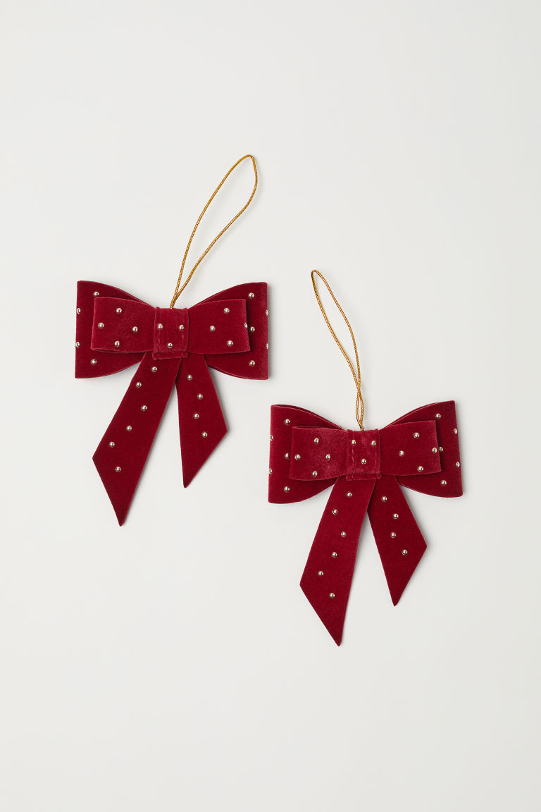 Décorations de Noël, lot de 2 - Rouge foncé - Home All | H&M FR 1