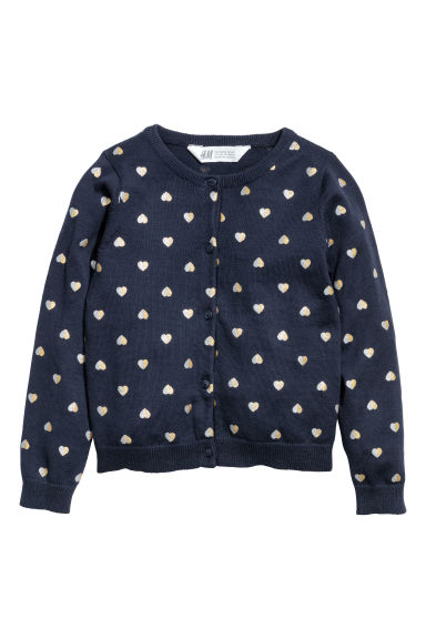 Cotton cardigan - Dark blue/Hearts -  | H&M GB