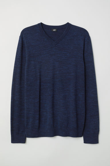 V-neck cotton jumper - Dark blue marl -  | H&M