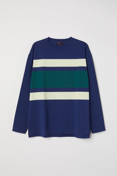 Long-sleeved top - Dark blue/Block-coloured - Men | H&M