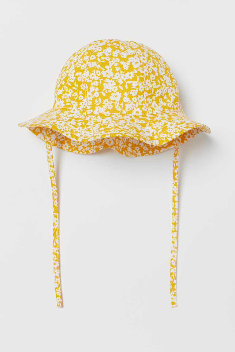Sun hat with ties - Yellow/Floral-patterned - Kids | H&M