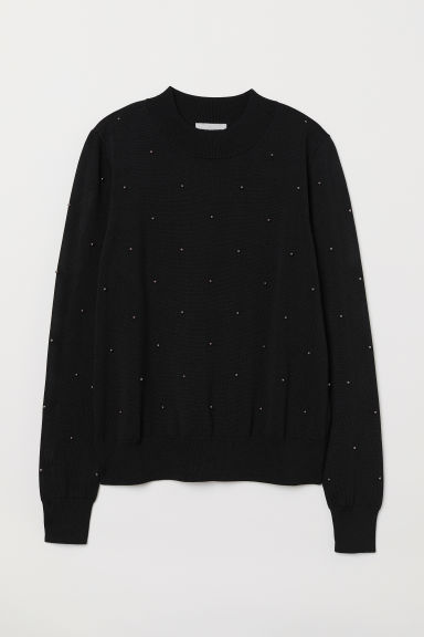 Bead-embroidered jumper - Black - Ladies | H&M