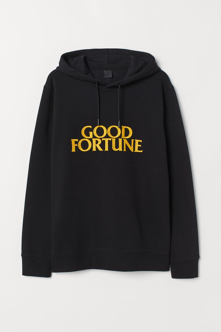 Hooded top with a motif - Black/Good Fortune - Men | H&M CN