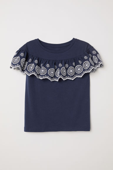 Flounced jersey top - Dark blue/White - Kids | H&M
