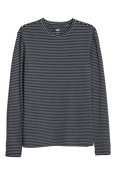 Long-sleeved jersey top - Black/White striped - Men | H&M CN