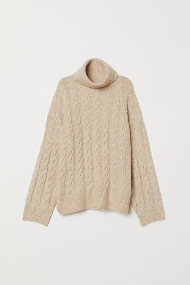 Cable-knit polo-neck jumper - Light beige marl - Ladies | H&M