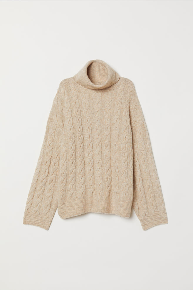 b96c03a7aee Cable-knit polo-neck jumper - Light beige marl - Ladies