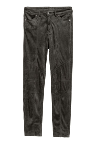 Imitation suede trousers - Dark grey -  | H&M