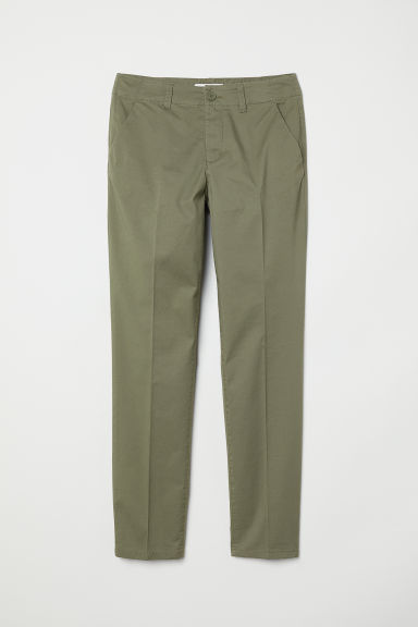 Cotton chinos - Khaki green - Ladies | H&M CN