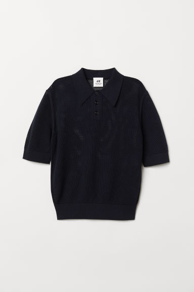 Hole-knit jumper - Dark blue -  | H&M CN
