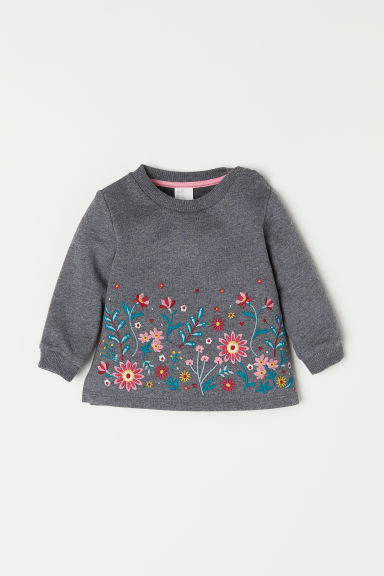 Sweatshirt with an appliqué - Dark grey marl/Flowers - Kids | H&M