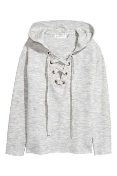 Hooded top with lacing - Light grey marl -  | H&M