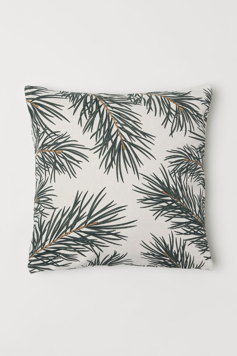 Christmas-print cushion cover - Natural white/Pine needles - Home All | H&M GB