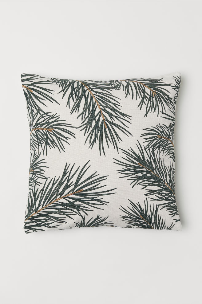 Christmas-print cushion cover - Natural white/Pine needles - | H&M GB 1