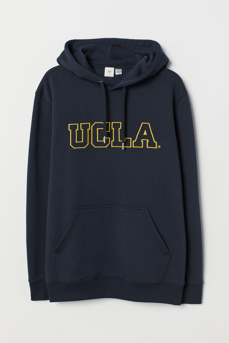 Printed hooded top - Dark blue/UCLA -  | H&M