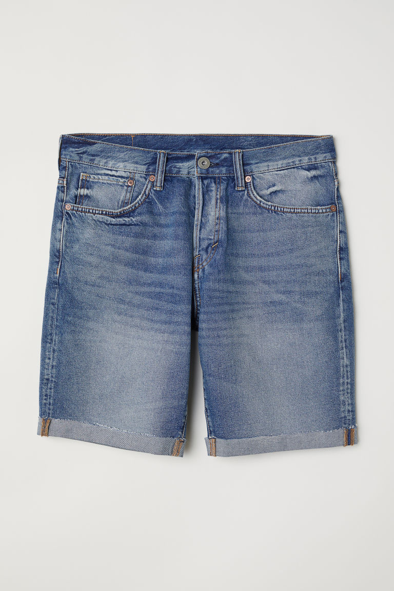 Straight Fit Denim shorts - Denim blue/Washed -  | H&M CN