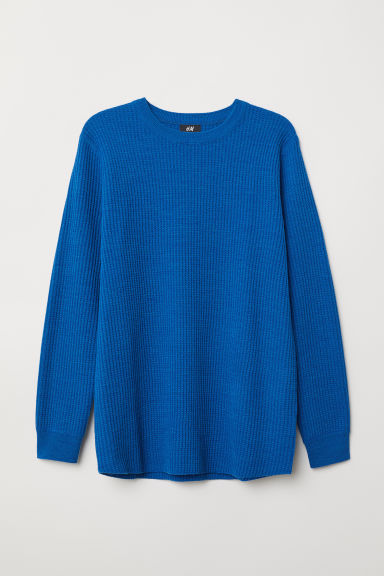 Textured-knit jumper - Blue marl - Men | H&M