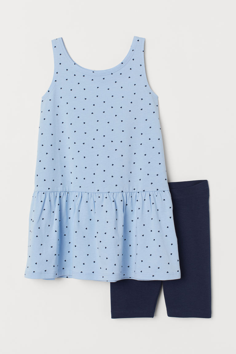 Dress and Cycling Shorts - Light blue/hearts - Kids | H&M US