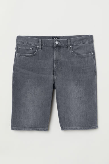 Denim shorts Slim Fit - Grey denim - Men | H&M CN