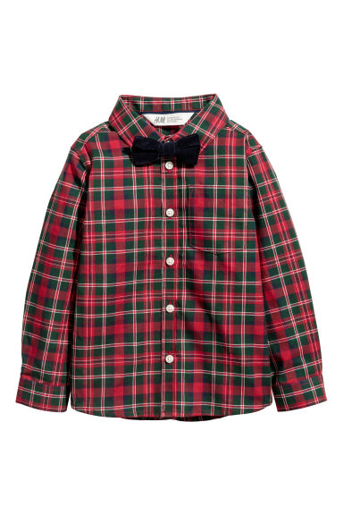 Shirt with a tie/bow tie - Red checked/Bow tie - Kids | H&M