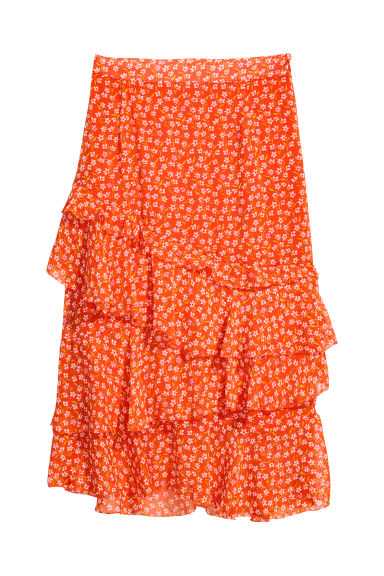 Flounced skirt - Orange/Floral -  | H&M CN