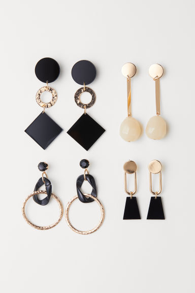 4 pairs earrings - Gold-coloured/Black - Ladies | H&M CN