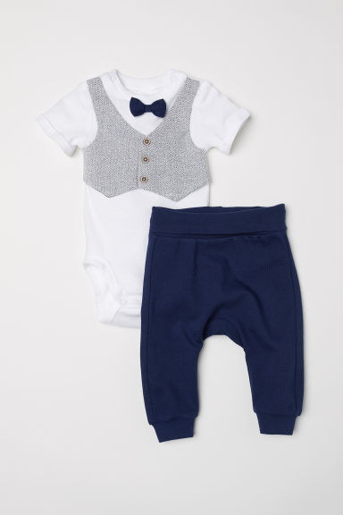 Bodysuit and trousers - Dark blue -  | H&M CN