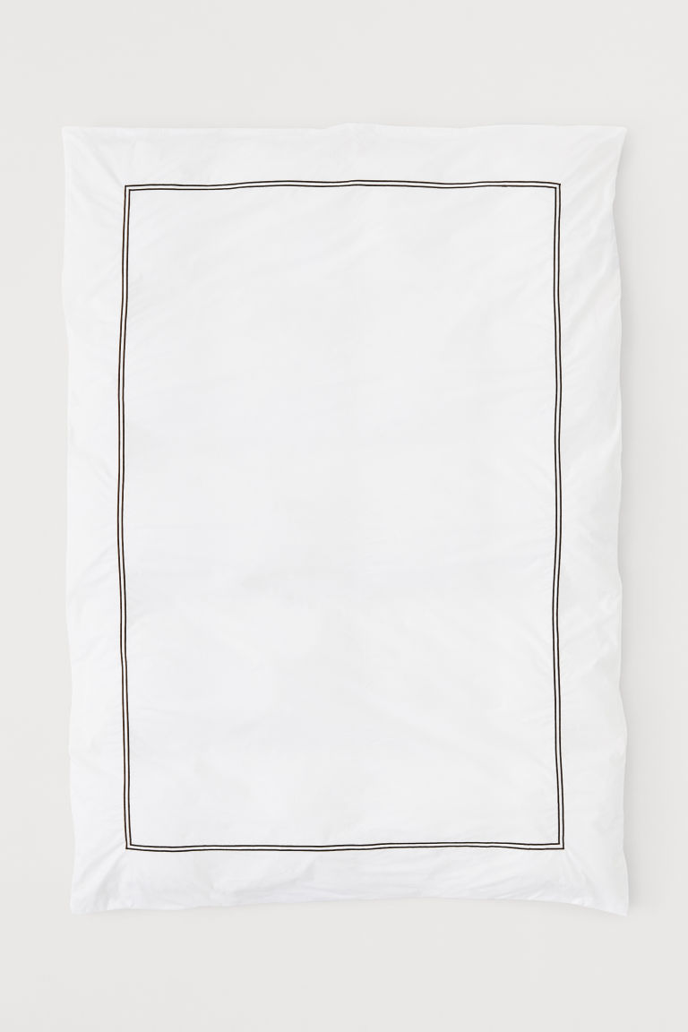 Cotton percale duvet cover - White/Black - Home All | H&M CN