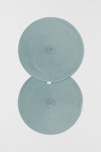 2-pack straw table mats - Light turquoise - Home All | H&M CN