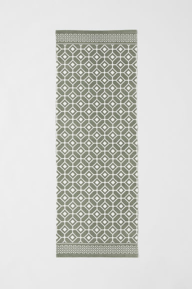 Patterned cotton rug - Khaki green/White patterned - Home All | H&M CN