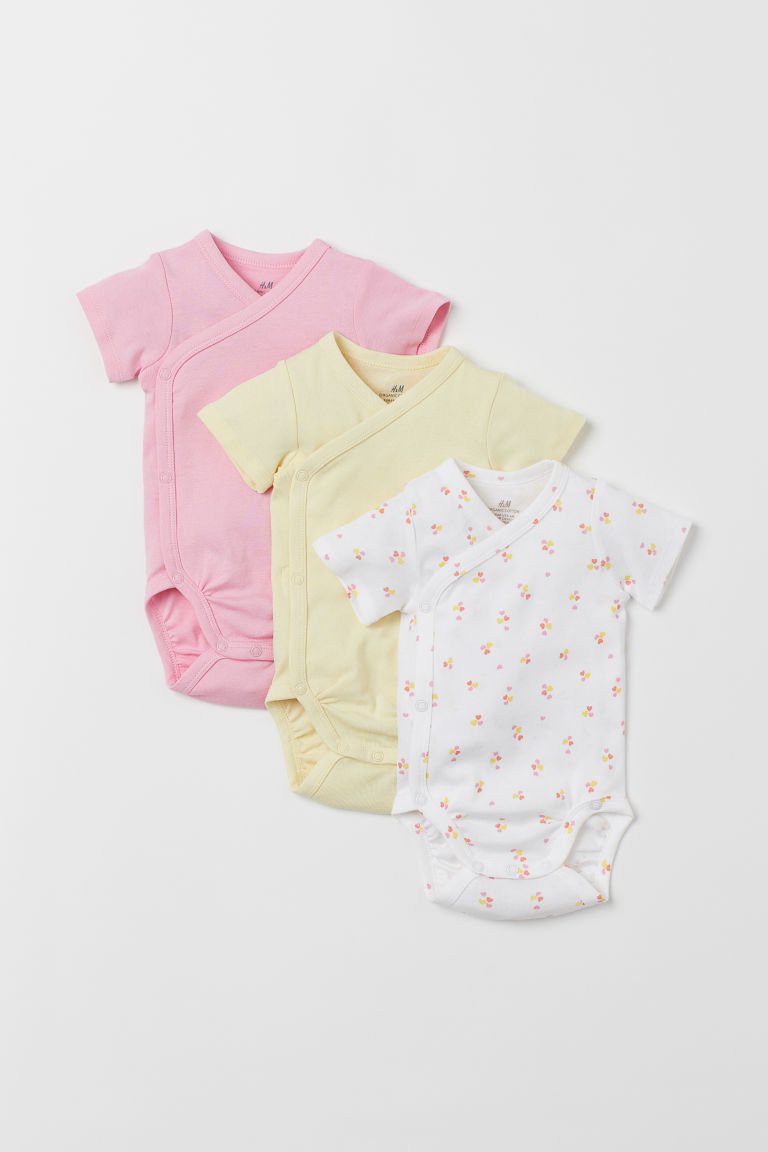 3-pack Wrapover Bodysuits - Pink/hearts - Kids | H&M US
