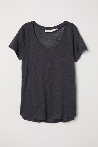 Linen T-shirt - Dark grey - Ladies | H&M CN