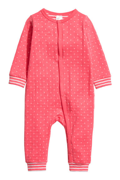 Cotton all-in-one pyjamas - Coral pink/White spotted - Kids | H&M CN