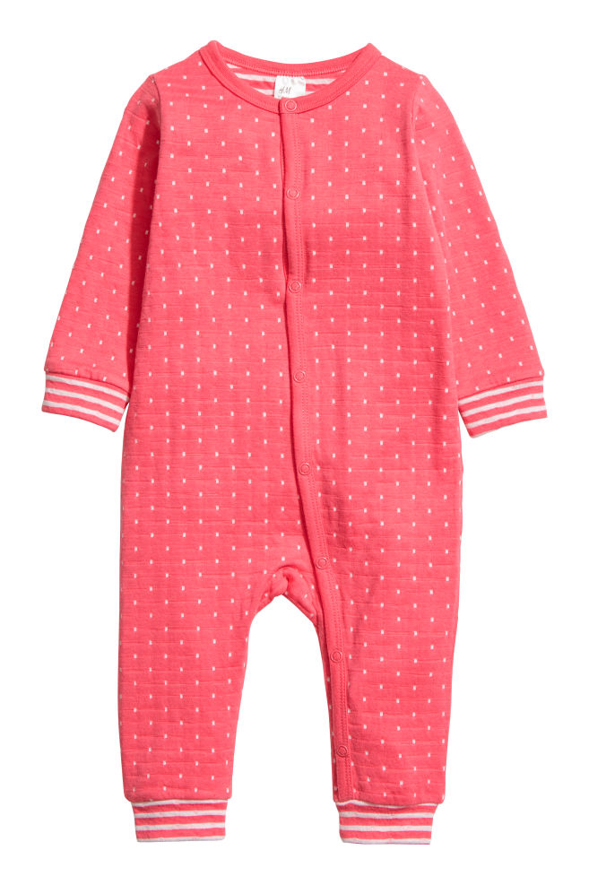 019eec04f Cotton all-in-one pyjamas - Coral pink White spotted - Kids