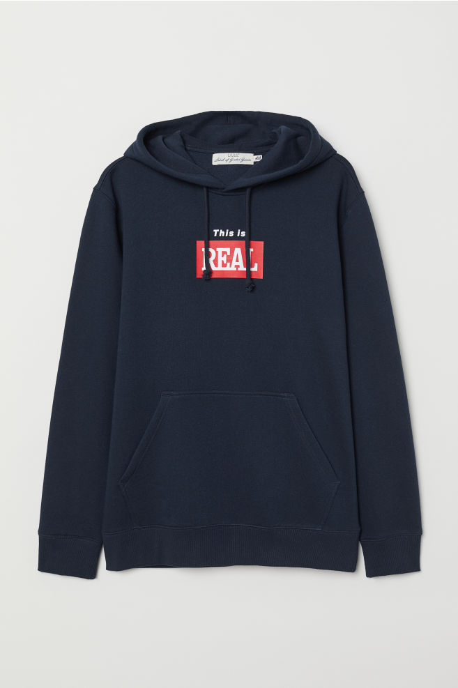 9e8e56f89 Hooded Sweatshirt with Motif - Dark blue/This Is Real - Men   H&M US
