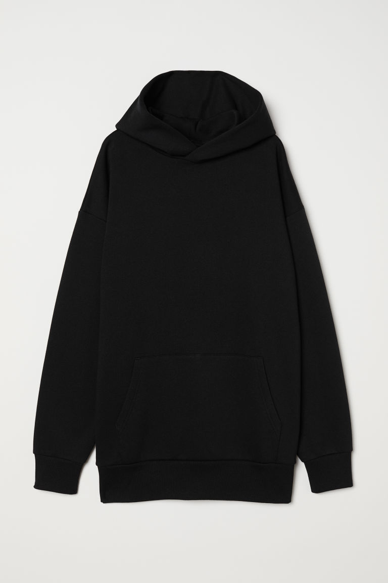 Oversized hooded top - Black -  | H&M CN