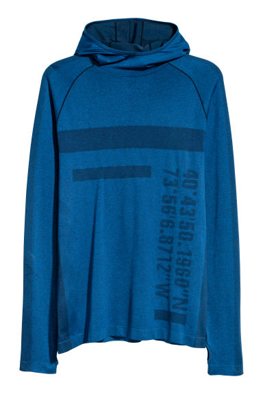 Seamless hooded running top - Blue - Men | H&M IE