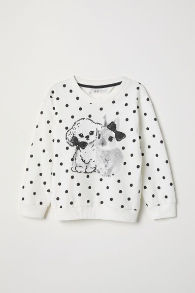 Sweater met print - Wit/stippen - KINDEREN | H&M BE