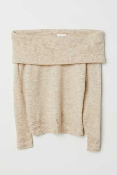 Off-the-shoulder Sweater - Light beige melange - Ladies | H&M US