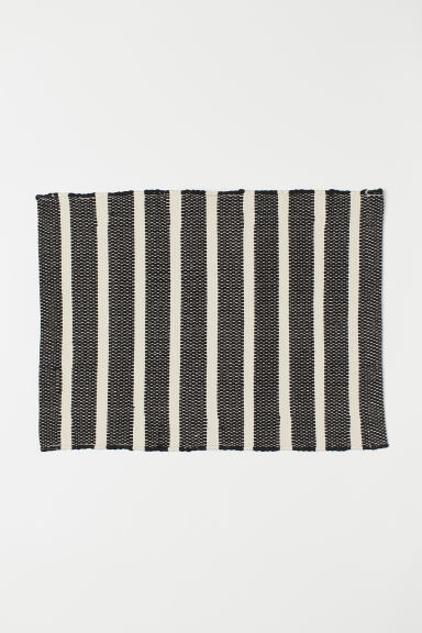 Striped bath mat - Natural white/Black striped - Home All | H&M CN