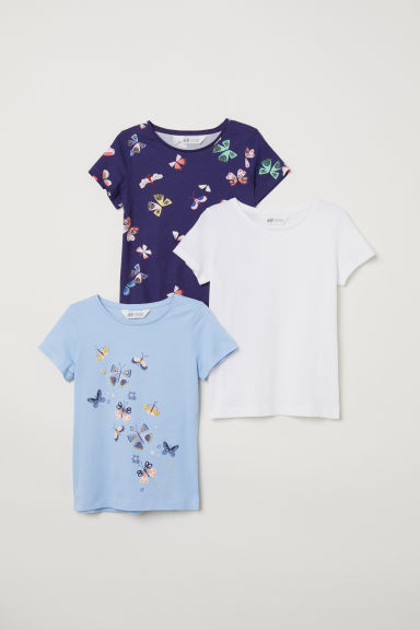 3-pack jersey tops - Blue/Butterflies -  | H&M