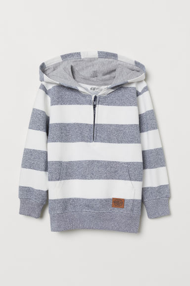 Striped hooded top - Blue/White striped - Kids | H&M CN