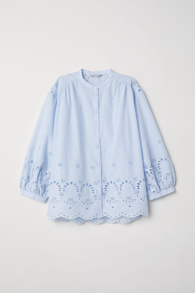 Hole-embroidered cotton blouse - Light blue - Ladies | H&M CN
