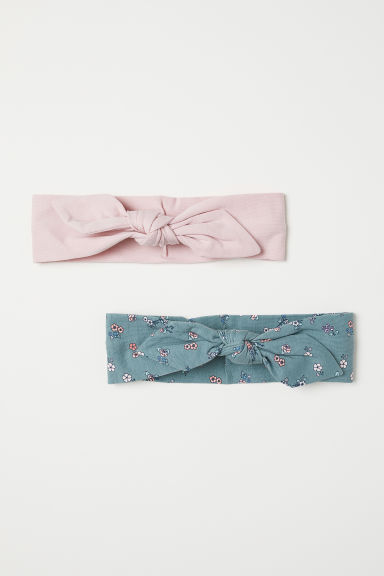 2-pack hairbands with a bow - Powder pink/Dusky green - Kids | H&M
