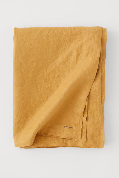 Washed linen tablecloth - Dark yellow - Home All | H&M CN