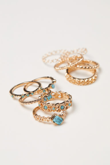10-pack rings - Gold-coloured/Turquoise - Ladies | H&M