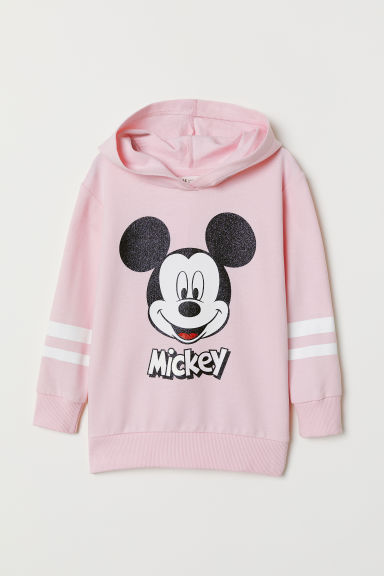 Hooded top with motifs - Light pink/Mickey Mouse - Kids | H&M