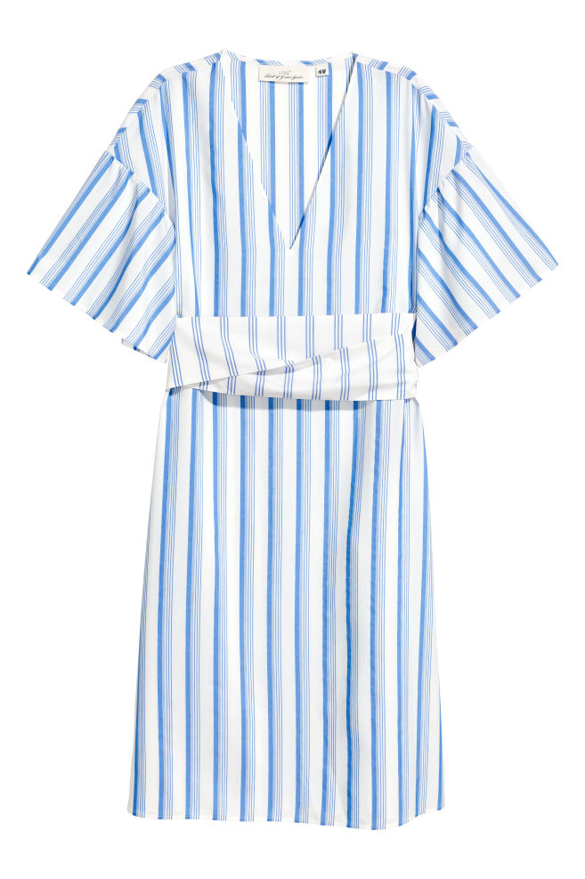 6b2a7ff372 V-nyakú ruha - Fehér/kék csíkos - NŐI   H&M ...