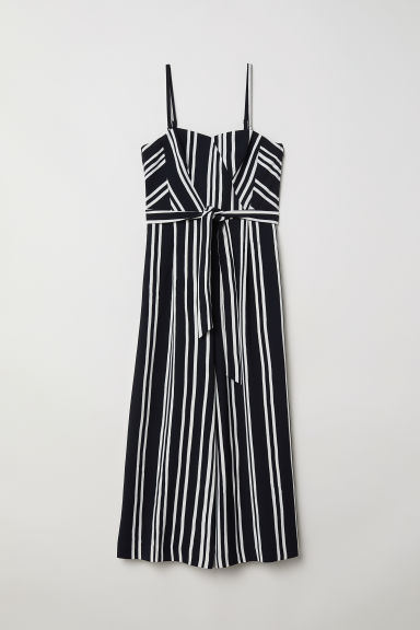 Bandeau jumpsuit - Black/White striped - Ladies | H&M CN