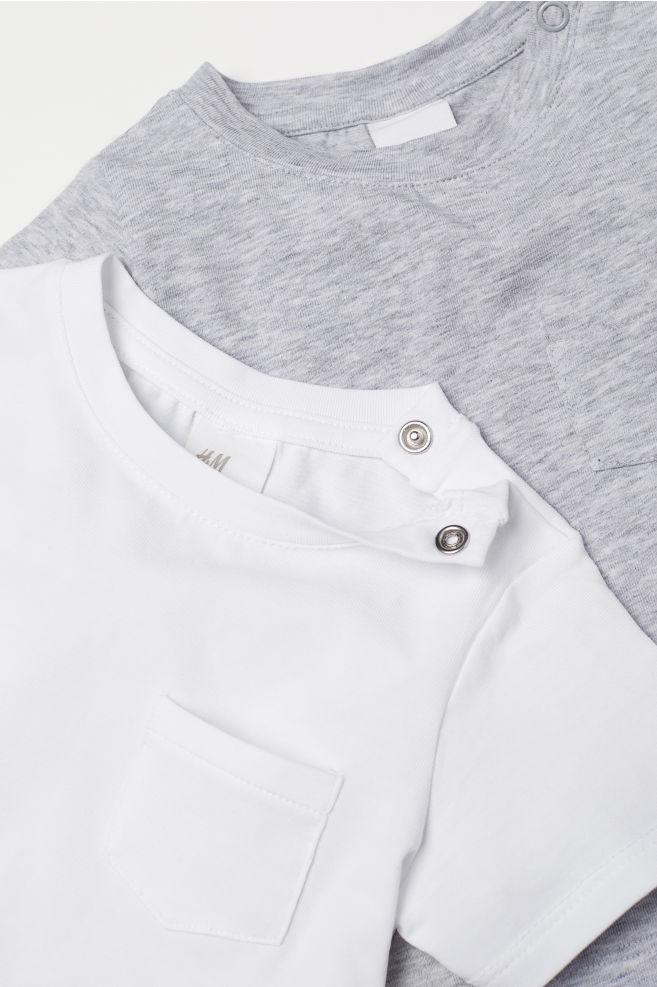 19786e8a 2-pack T-shirt i pimabomull - Lys grå melert - BARN | H&M NO